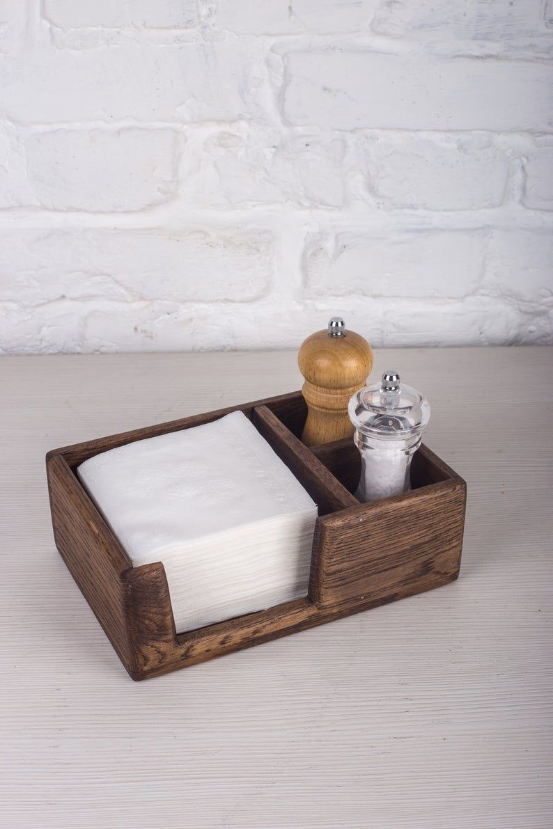 Oak Napkin Holder with salt&pepper sections | Etsy