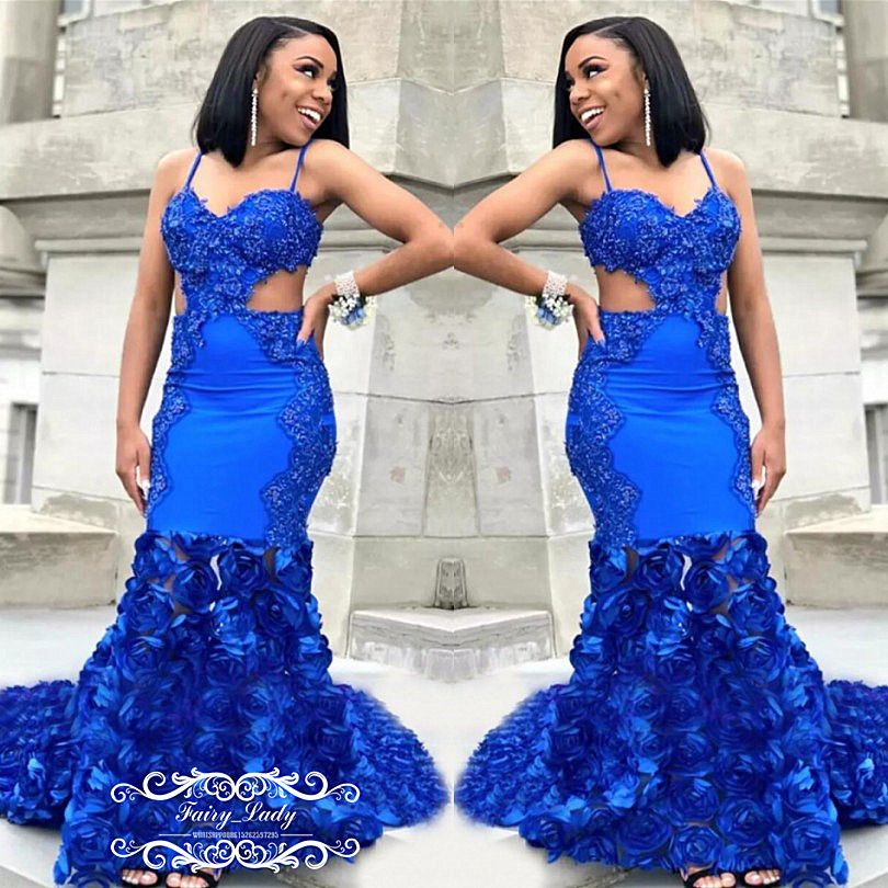 2018 Royal Blue Rose Flowers Appliques Mermaid Prom Dresses Sexy