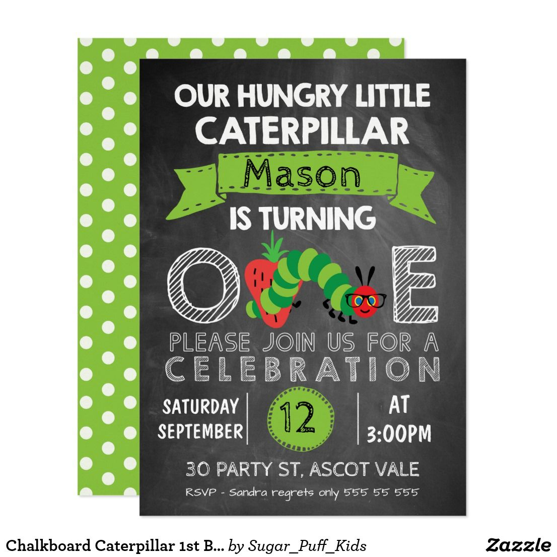 Chalkboard Caterpillar 1st Birthday Invitation | Hungry caterpillar ...