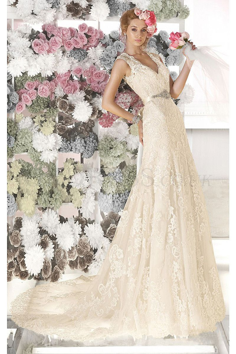 Affordable Champagne Organza V-neck A-line Wedding Dresses - by ...