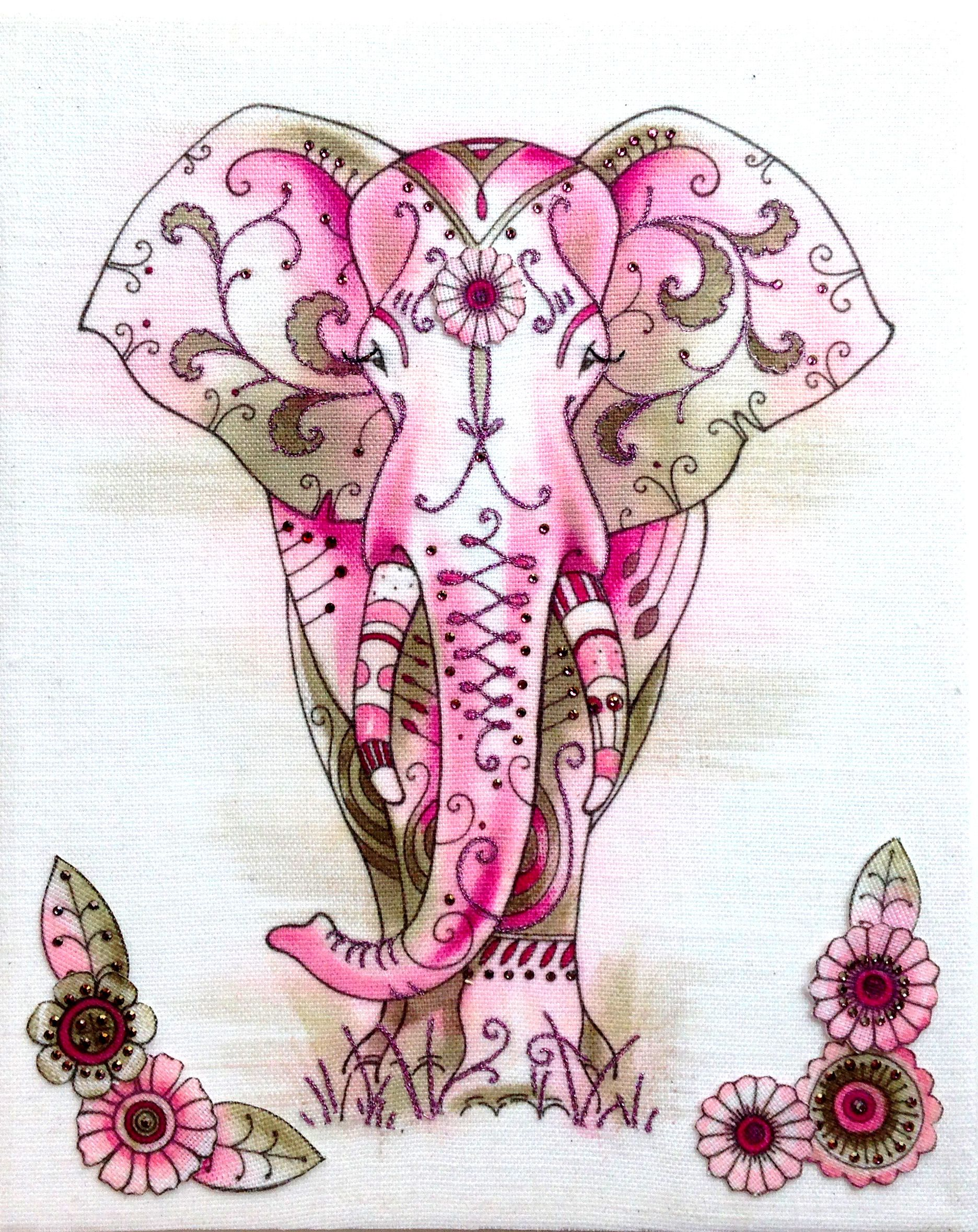 Free motion embroidery patterns, Pink Elephant! Free