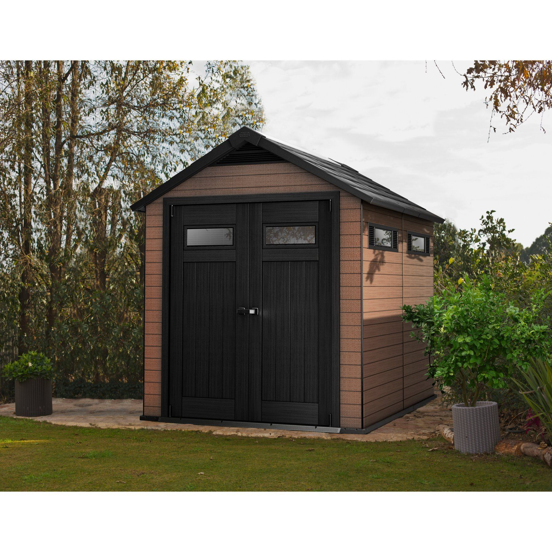 Keter Fusion Large 7 5 X 9 Ft Storage Shed 224449 Outdoor Storage Sheds Diy Storage Shed Plans Building A Shed