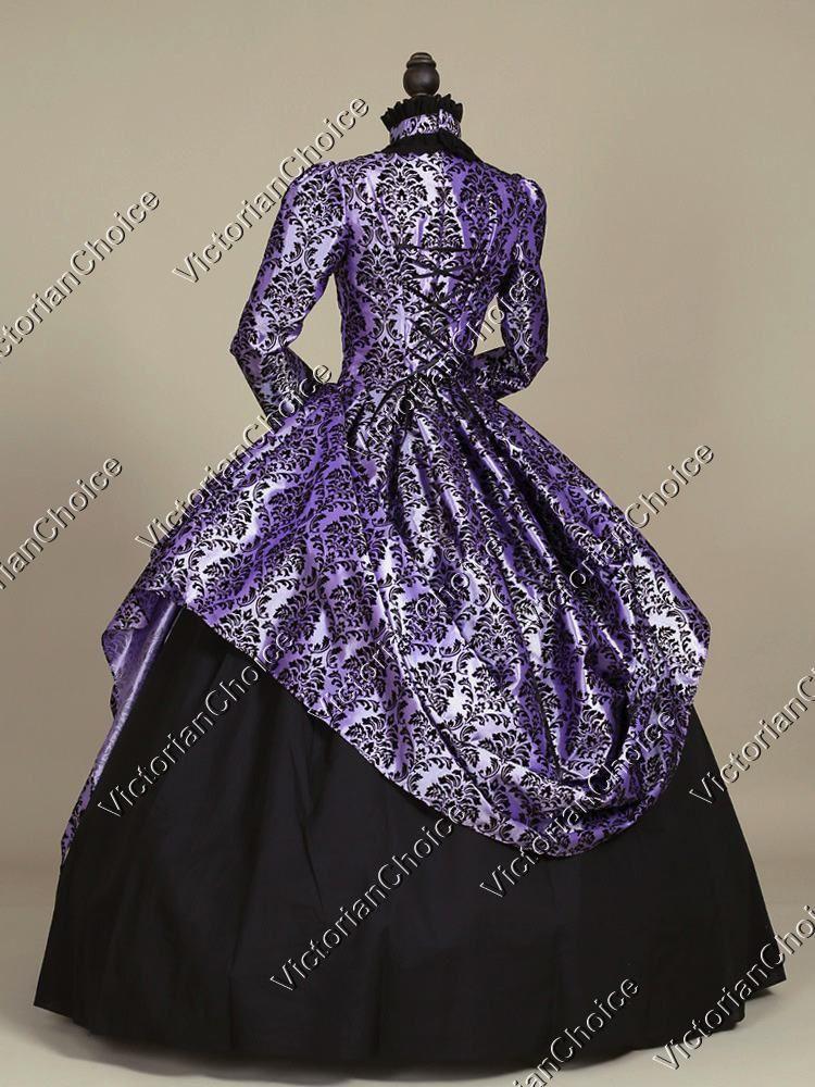 Victorian Gothic Fairy Princess Brocade Ball Gown Dress Reenactment ...