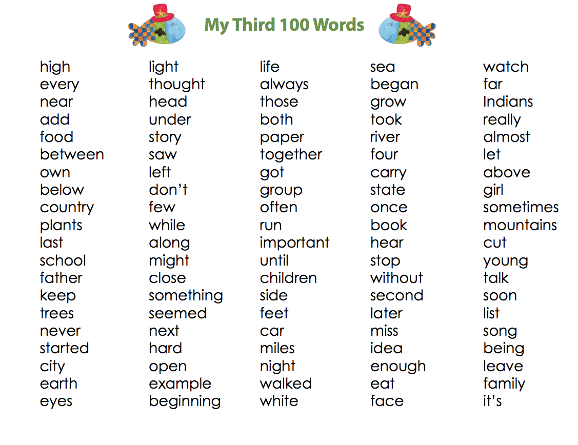 My First 100 Words Set Of 3 X 100 Words List Sight Word