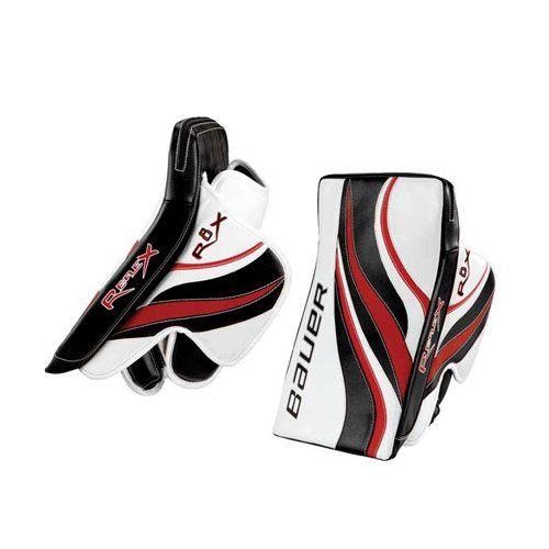 Bauer Rx8 Re Flex Blackwhitesilver Senior Goalie Blocker 32 890 10 Hockey Equipment Hockey Gloves Bauer