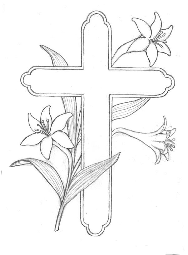 Easter Lily Coloring Pages Cross Coloring Page Easter Drawings