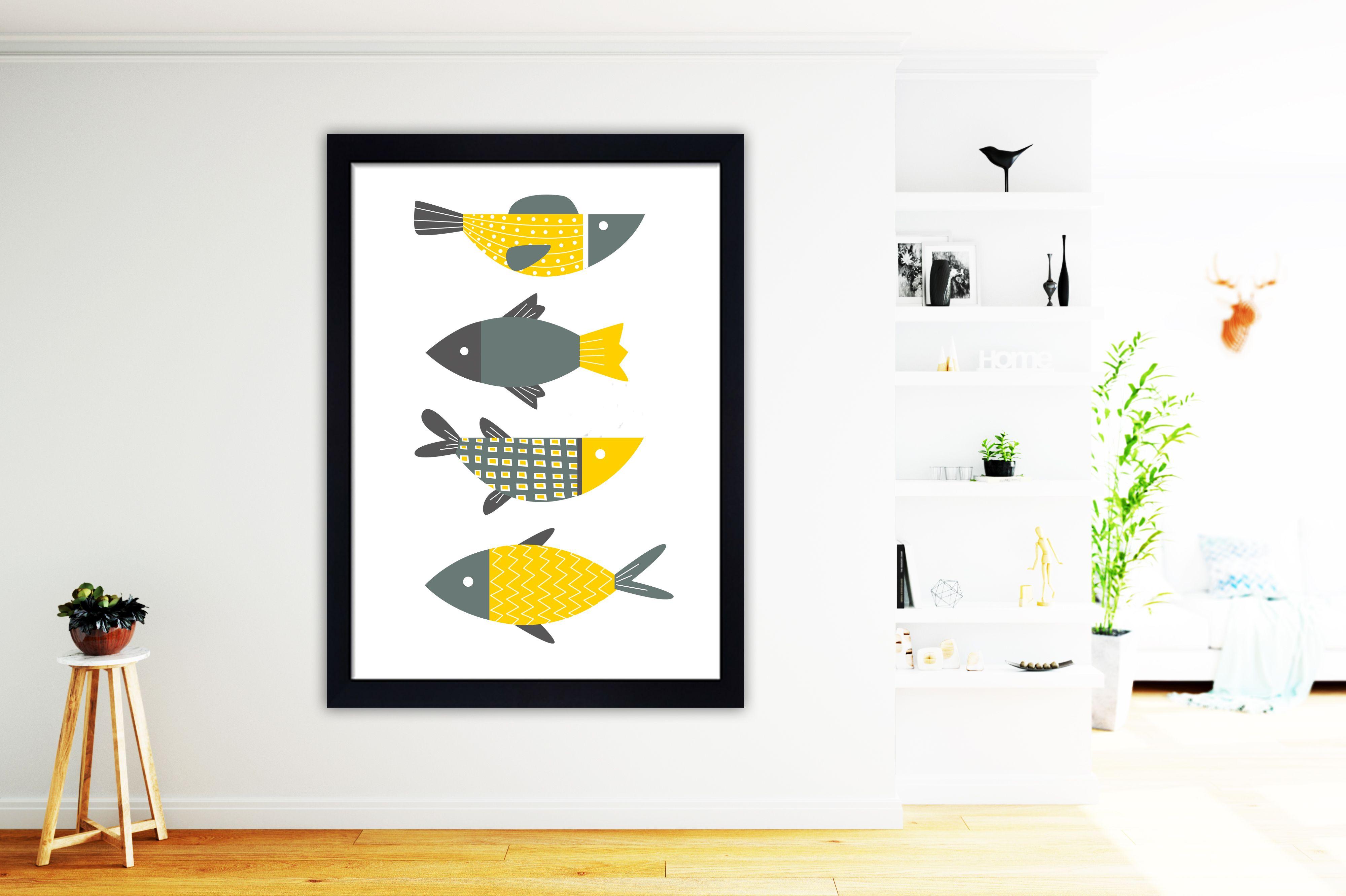 Fish print fish wall art modern fish art minimalist wall art