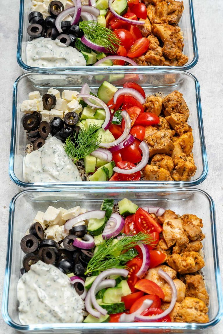 Greek Chicken Meal Prep Bowls for Clean Eating #healthylunches