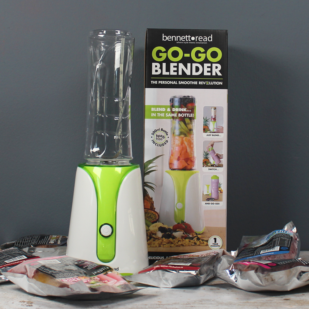The Go-Go Blender from Bennett Read is designed for people on the Go! Blend your FitChef luxury smoothies in your 500ml Go-Go Blender Bottle and ENJOY! Order Online!