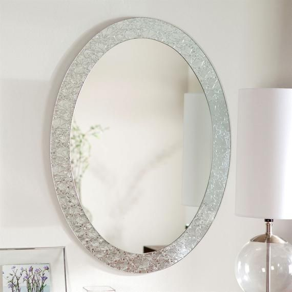 Oval Frame Less Bathroom Vanity Wall Mirror With Elegant Crystal Border In 2020 Oval Mirror Bathroom Vanity Wall Mirror Oval Wall Mirror