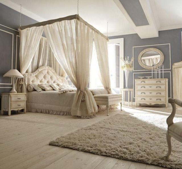 Chambre romantique ivoire avec lit baldaquin chambre pinterest for Photo deco chambre adulte romantique