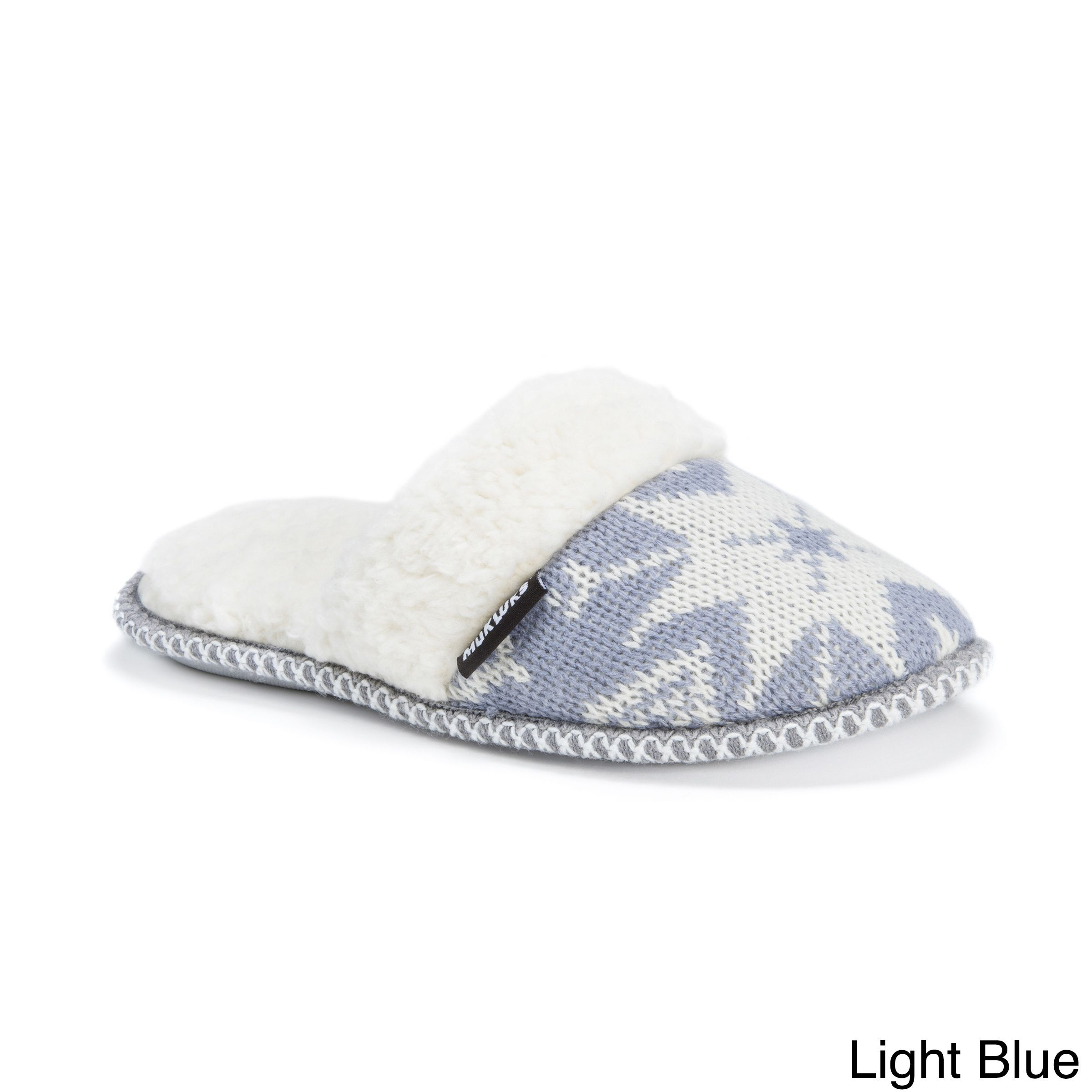 Women's Muk Luks Fair Isle Knit Scuff Slide Slippers - Light Blue S