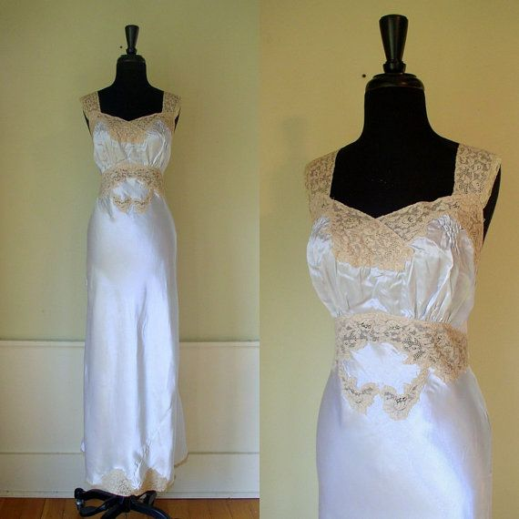 Vintage 1940 s Moonlight Satin Gown   40 s Pale Blue Lingerie   Hollywood  Regency Classic Glamour Lace fdd16003f
