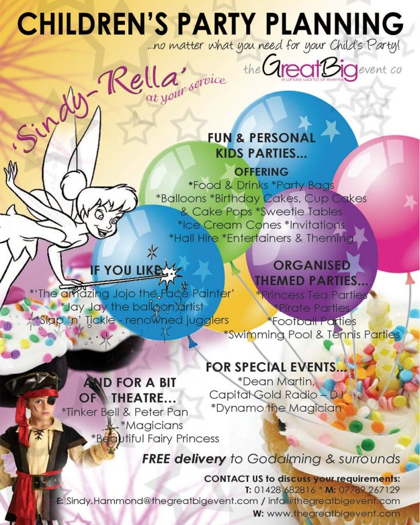 design flyer for event planners childrens party planning