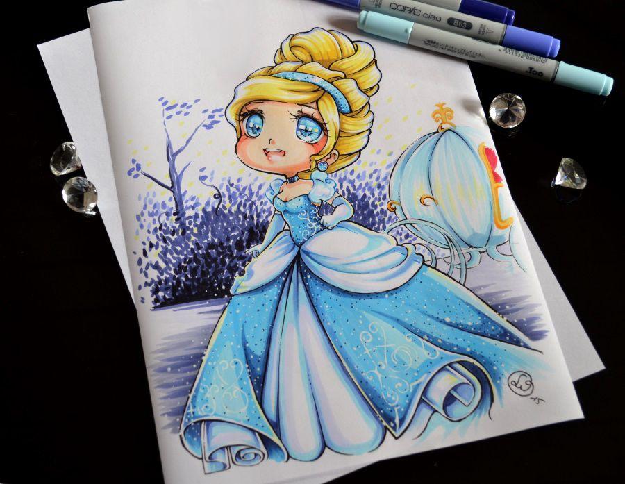 Chibi cendrillon manga drawing dessins disney - Peinture princesse disney ...