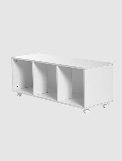 meuble bas de rangement chambre enfant blanc+gris - vertbaudet