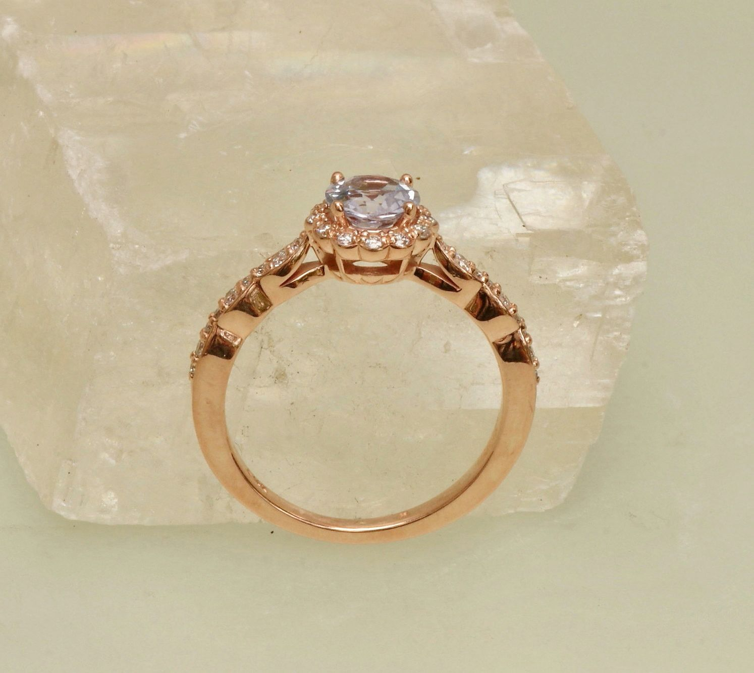 LAVENDER SAPPHIRE ENGAGEMENT RING ROSE GOLD DIAMOND HALO