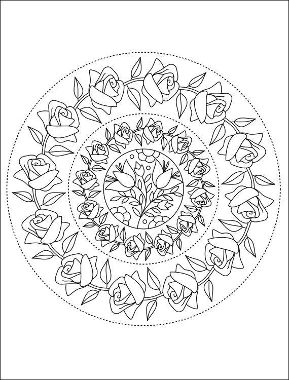free printable mandalas coloring pages free mandala coloring page with roses printable page with - Free Mandala Coloring Pages