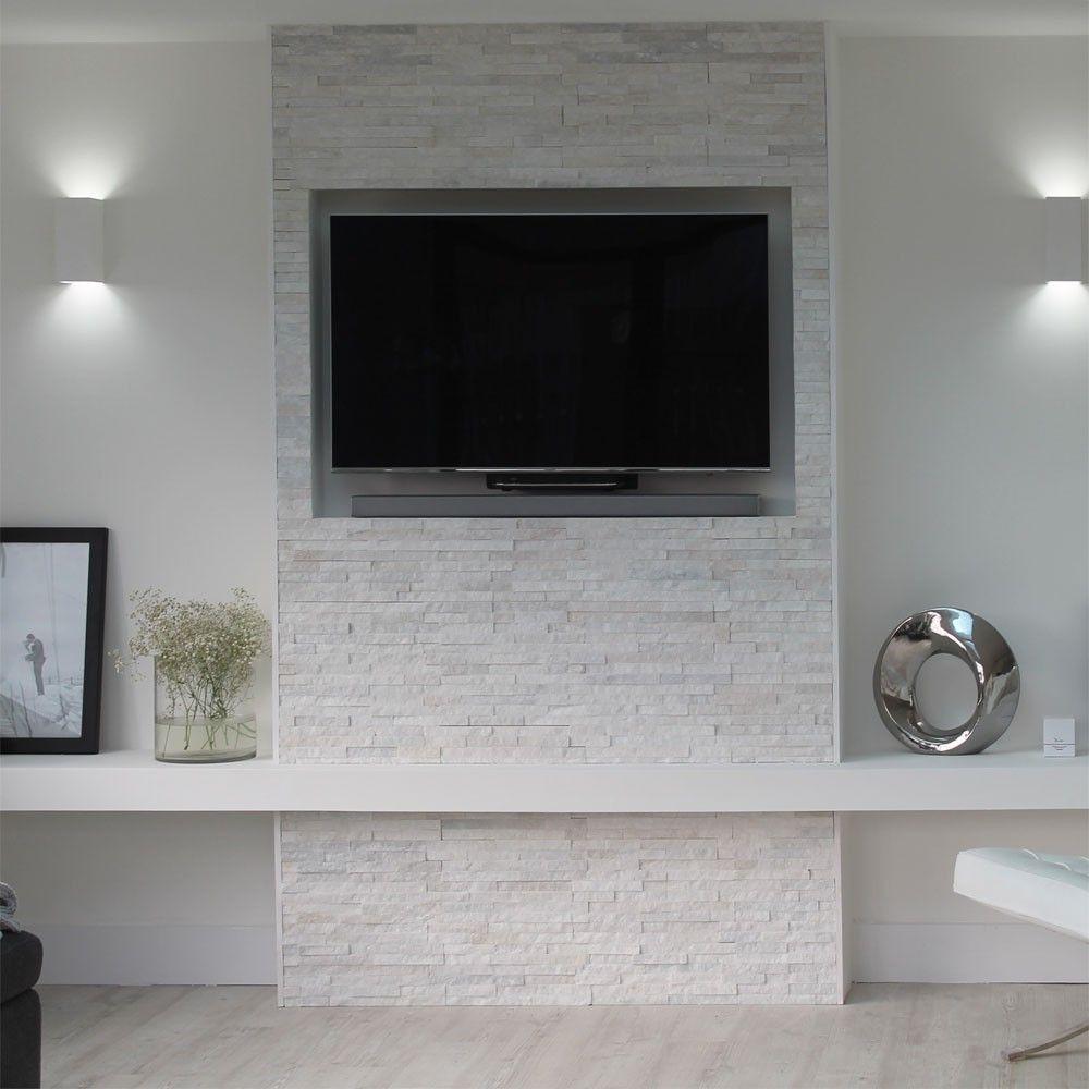Ledgestone Thin White Split Face Tiles Slate 400x100x4
