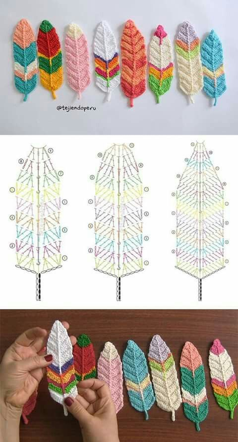 Crochet feathers | ονειροπαγιδες | Pinterest | Atrapasueños ...