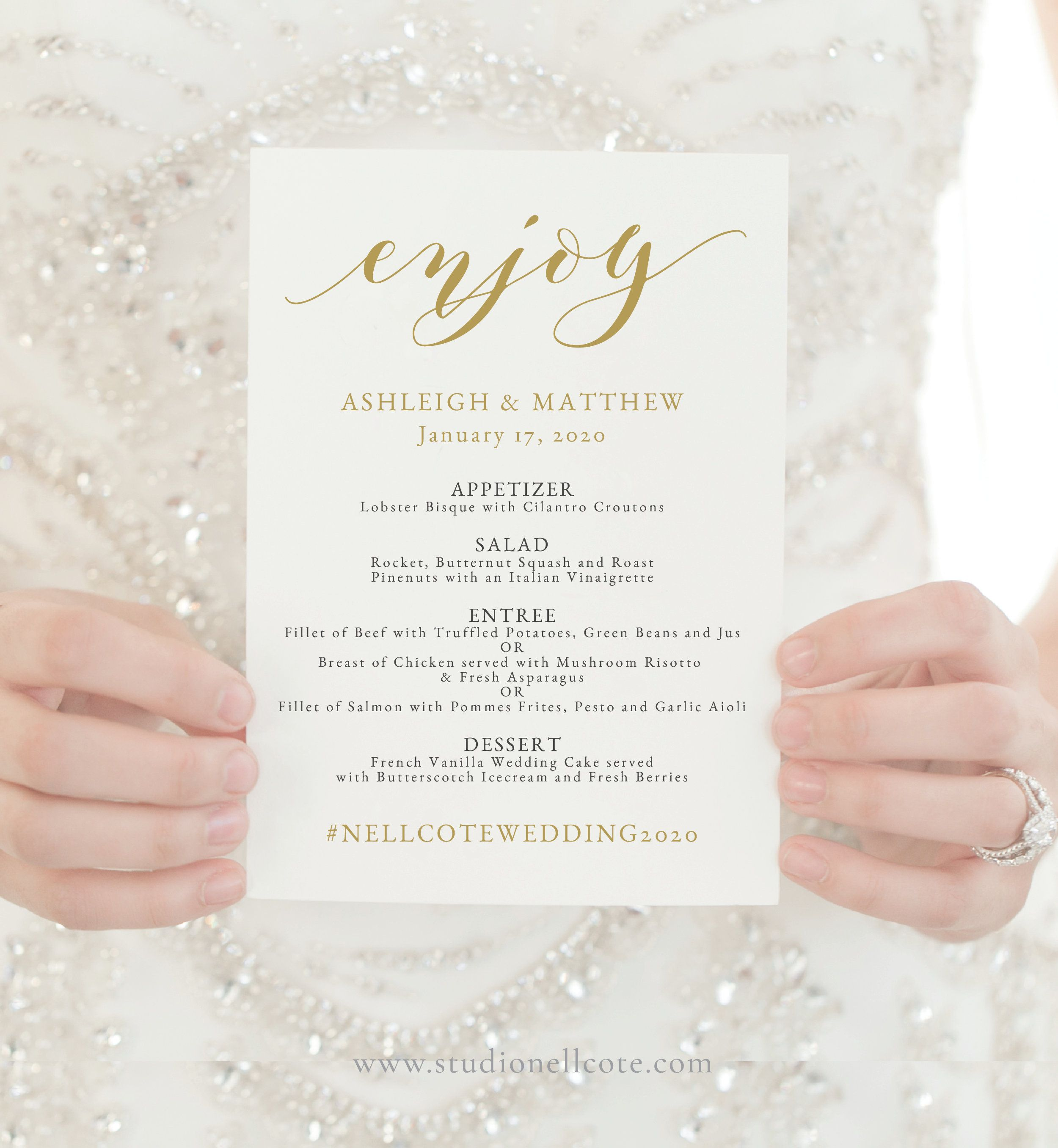 Gold Wedding Menu Instant Download Printable Menu Reception Card