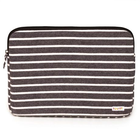 Striped Fleece Laptop Case - Charcoal