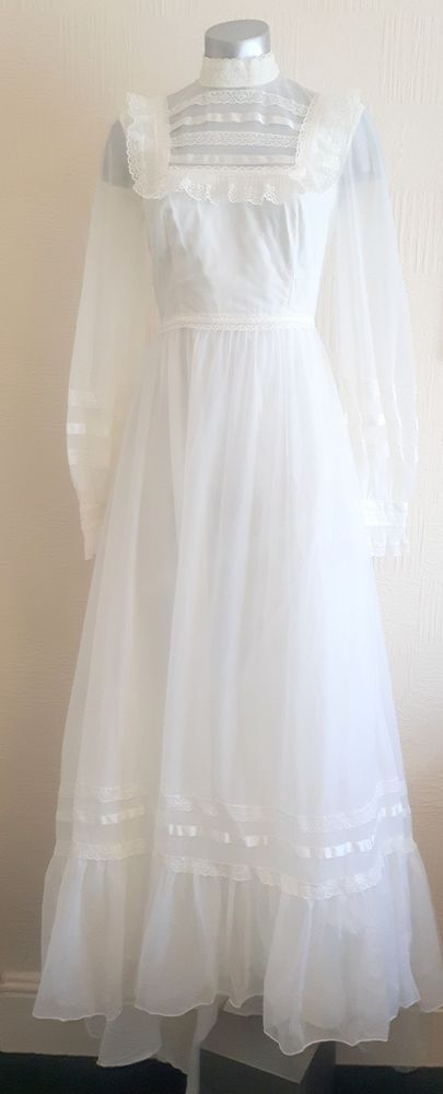 Vintage 70s wonderful romantic white net gothic victorian wedding ...
