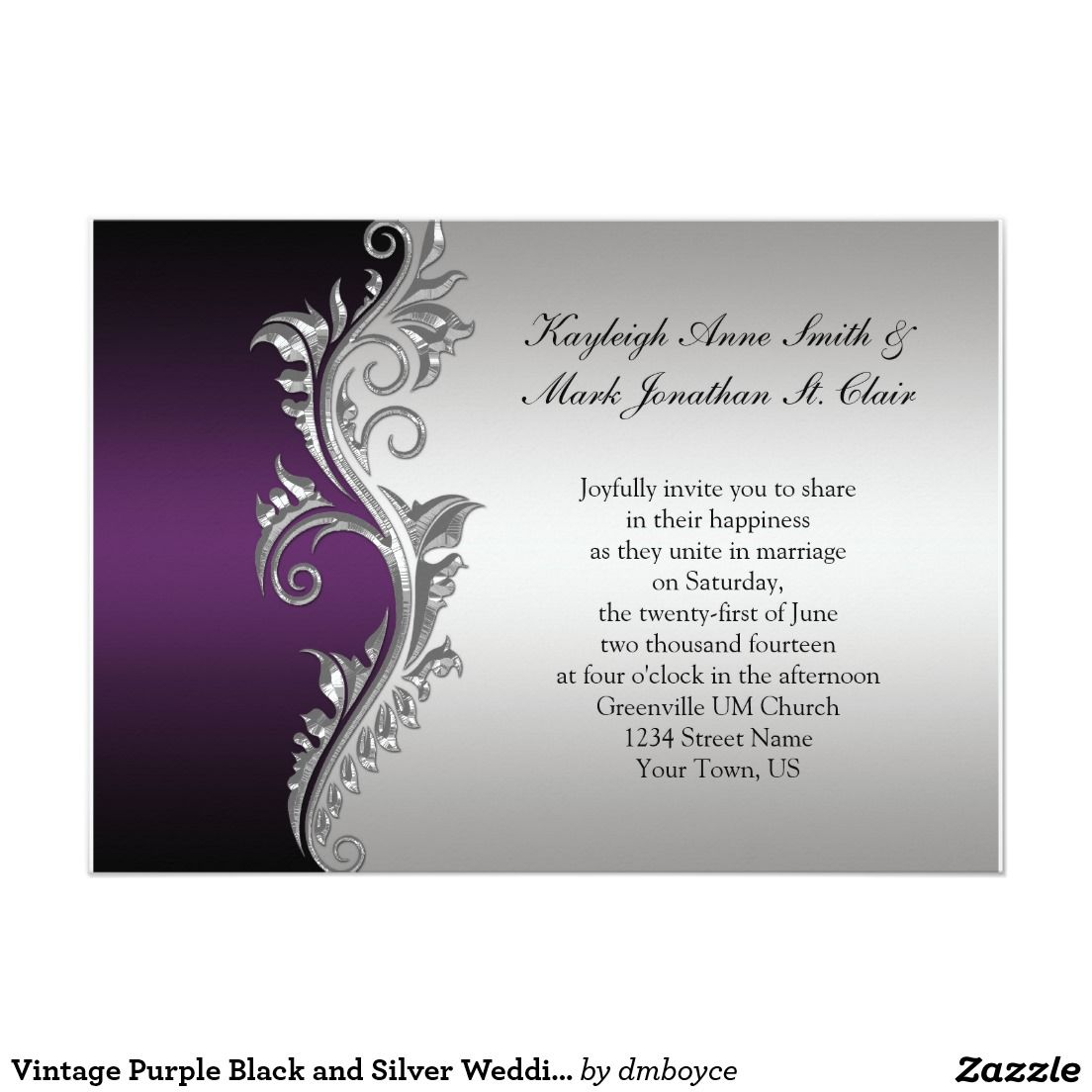 Vintage Purple Black and Silver Wedding Invitation | wedding ...