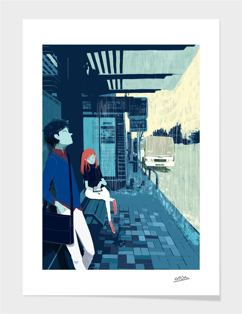 «Bus Stop» Art Print by Oriol Vidal - Numbered Edition from $24.9 | Curioos
