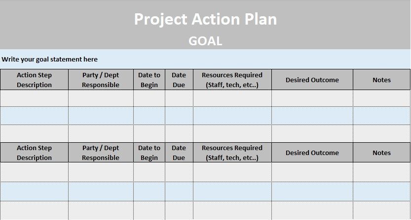Project Action Plan Template Excel And Word  Project Management