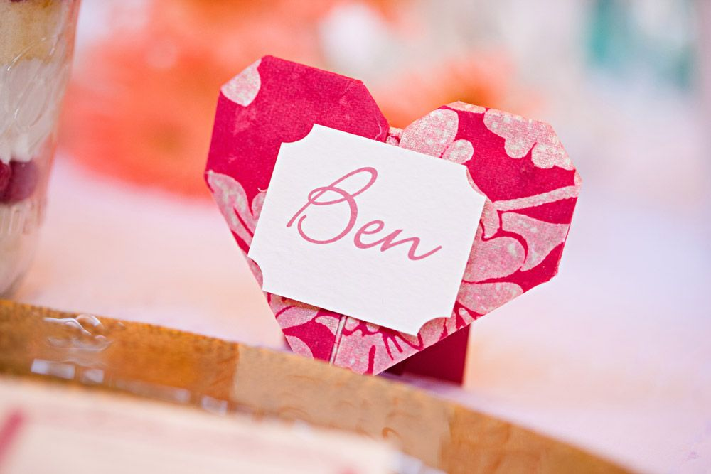 Origami Heart As A Placecard Holder Origami Inspired Wedding