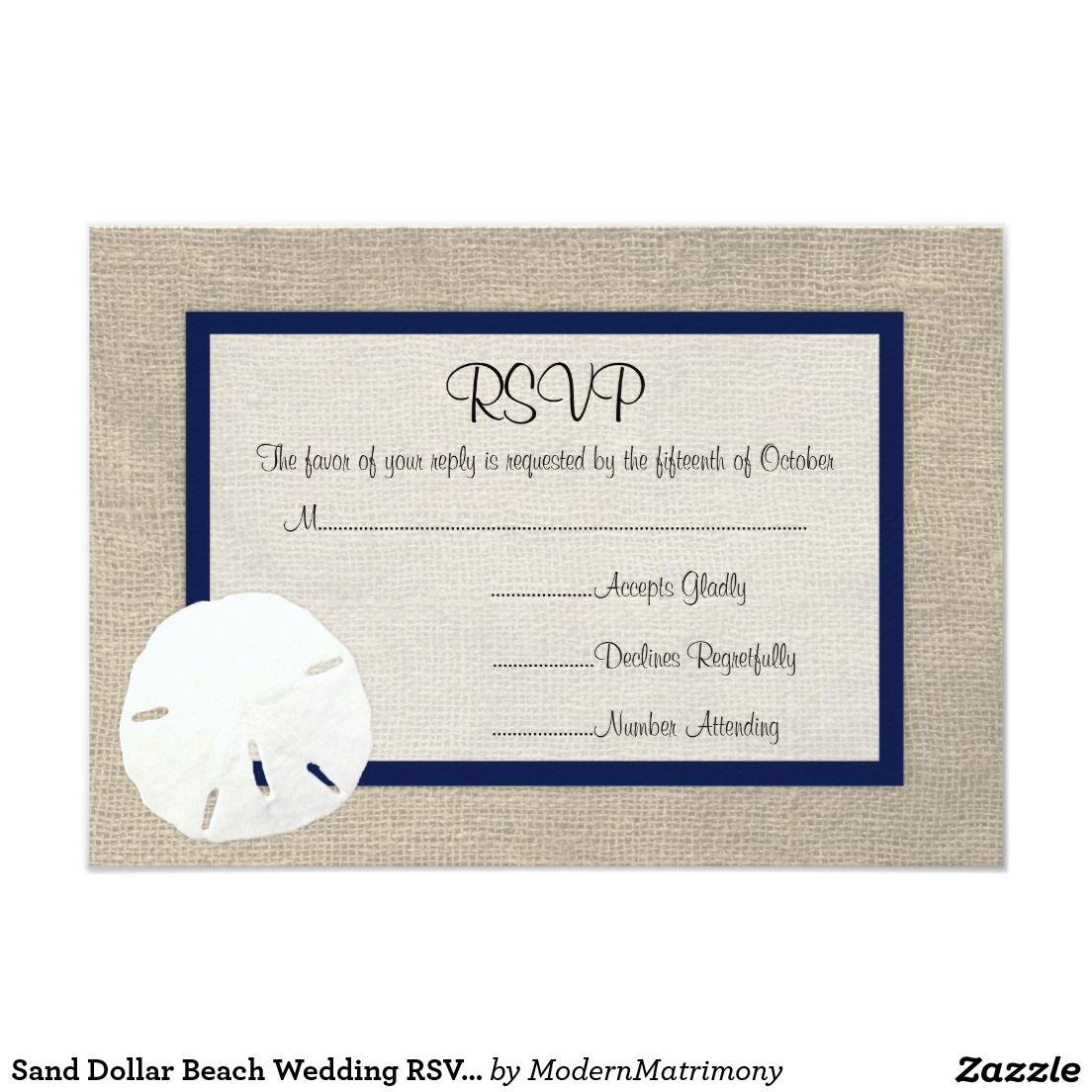 Sand Dollar Beach Wedding RSVP card - Navy Blue | Beach Wedding ...