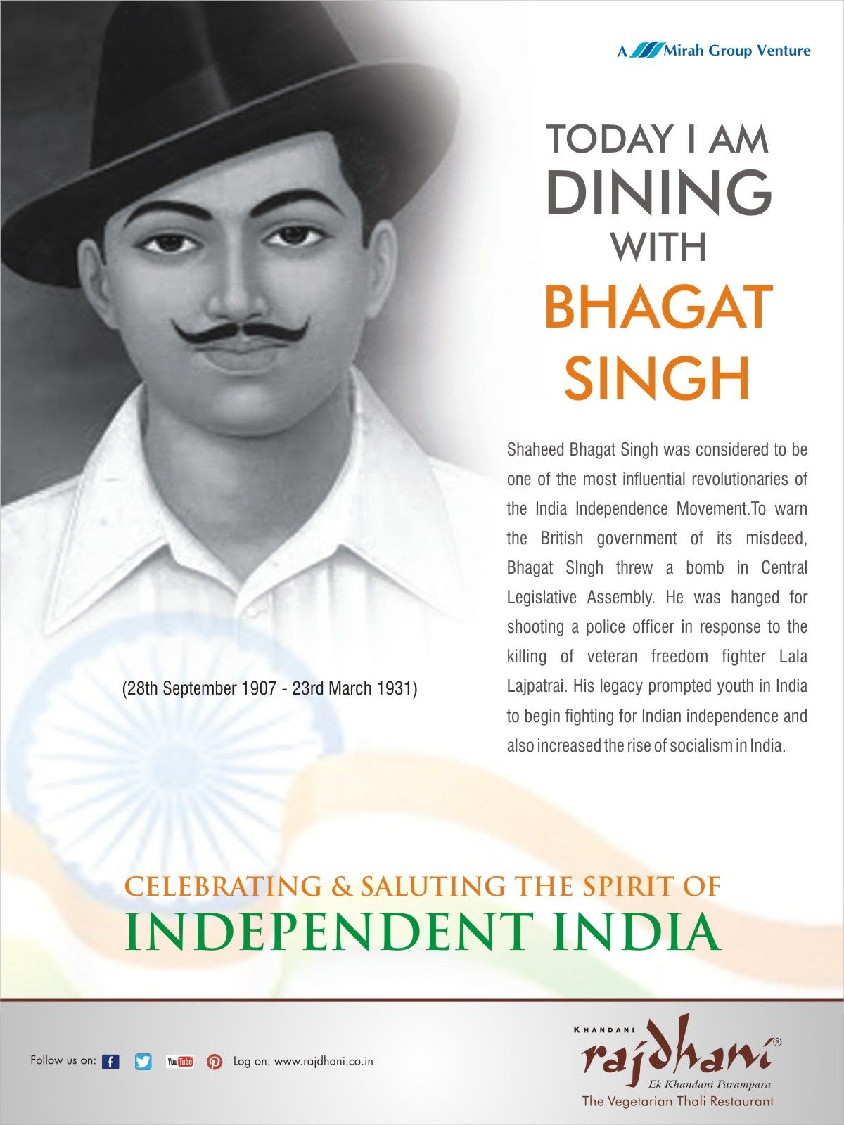 Shaheed Bhagat Singh was considered to be one of the most