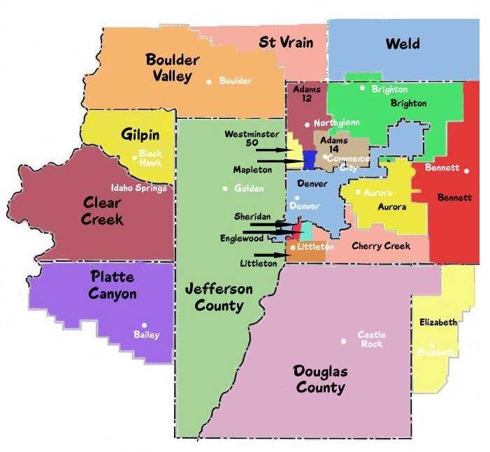 School Districts Greater Denver Metro Areas Coolorado - Denver county map
