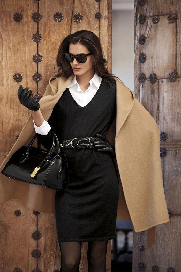 Shop this look on Lookastic:  https://lookastic.com/women/looks/coat-sheath-dress-dress-shirt-satchel-bag-gloves-belt-sunglasses-tights/5819  — Black Sunglasses  — White Dress Shirt  — Camel Coat  — Black Knit Sheath Dress  — Black Leather Belt  — Black Leather Gloves  — Black Leather Satchel Bag  — Black Tights