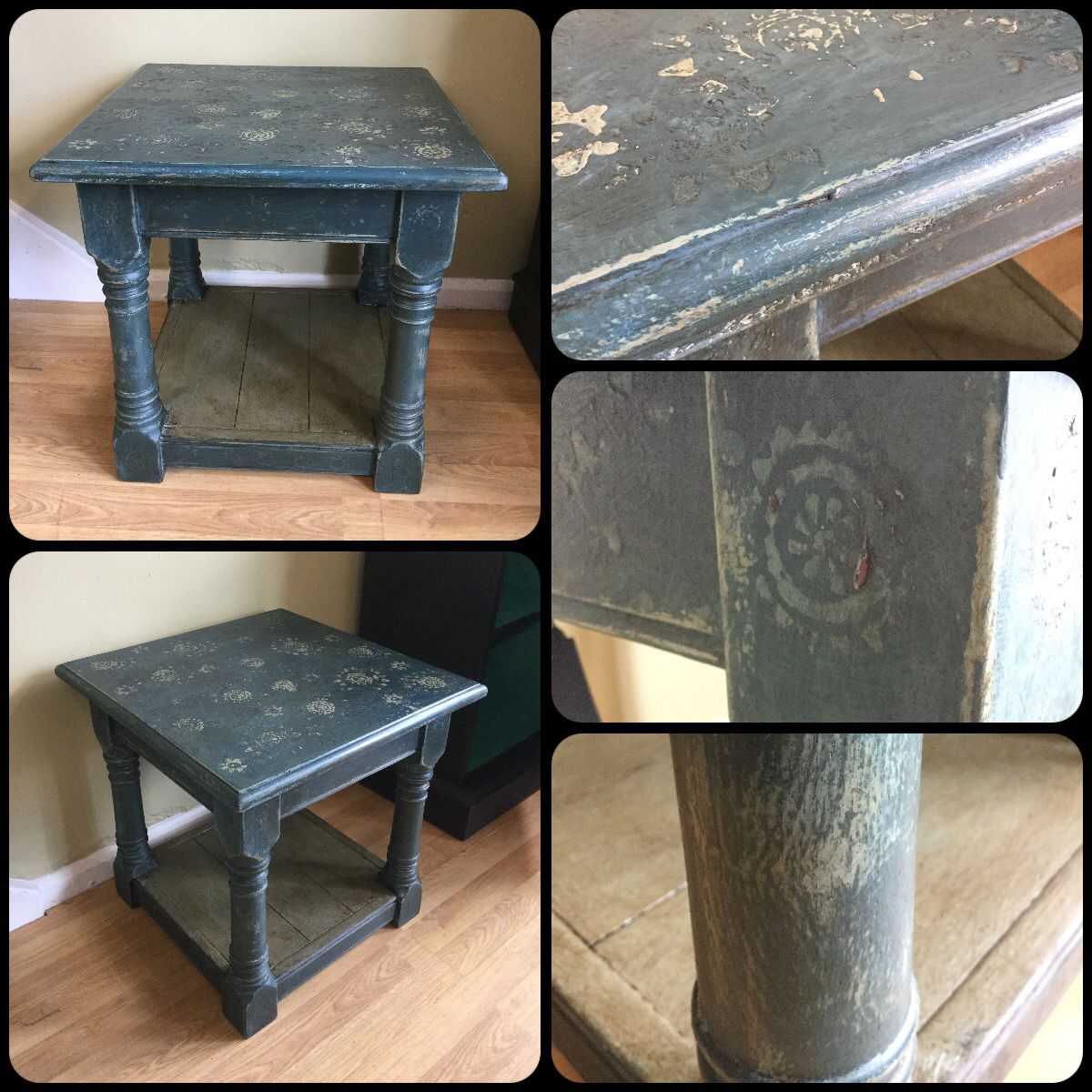 Chalk Paint by Annie Sloan hand painted lamp table using Aubusson Blue and Duck Egg Blue.