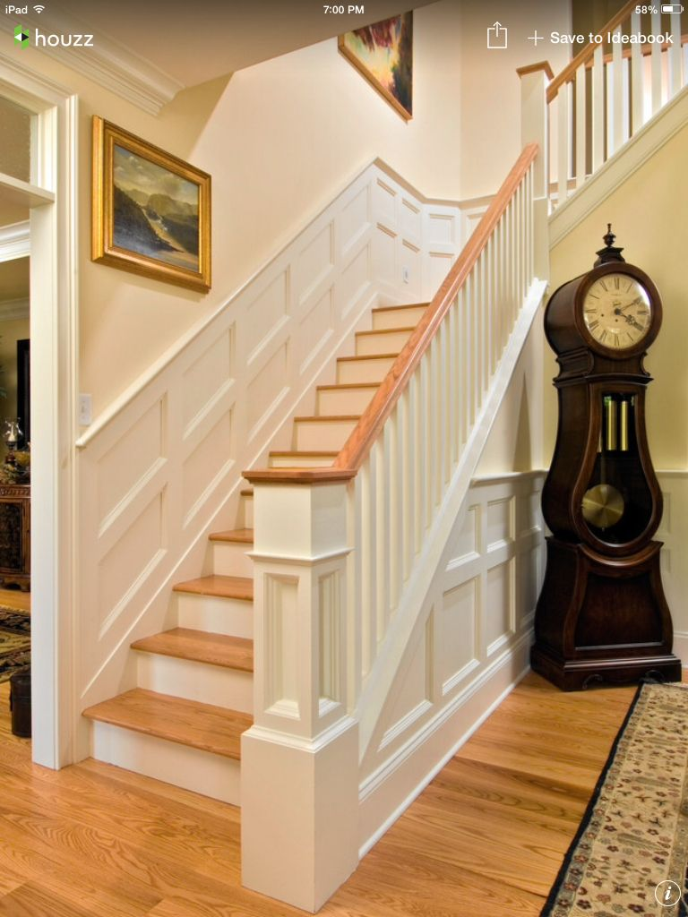 oak steps white spindles and baluster hallway pinterest wainscoting stairs design pictures remodel decor and ideas