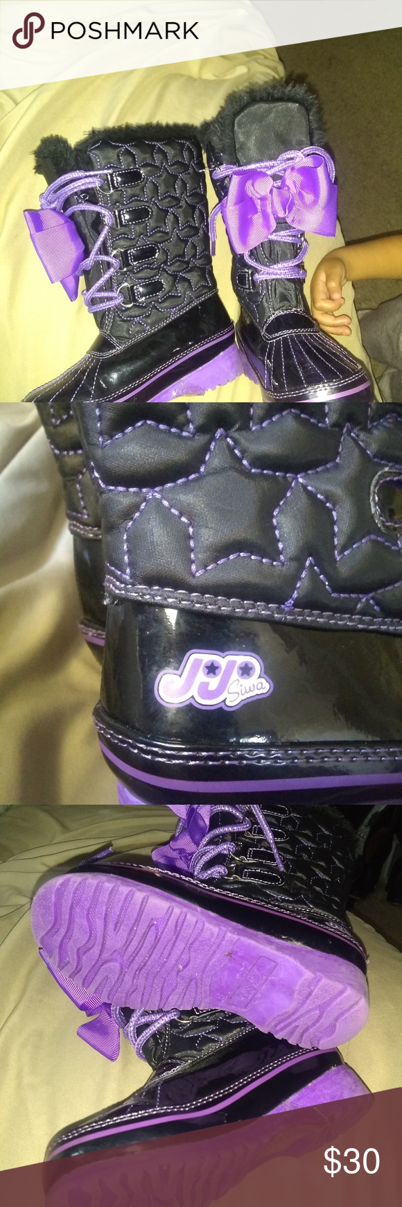 boots Winter boots purple and black