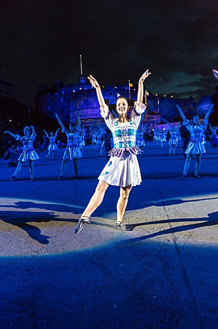 Morgan Bamford - World Champion Highland Dancer - Edinburgh Military Tattoo 2014. All the dancers looked stunning in their outfits with #Bonnie #Aqua #Tartan in their dresses and thistle on their skirts.