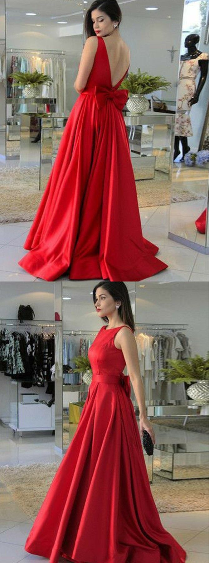 Aline round neck red satin prom dress with bowknot in pprom