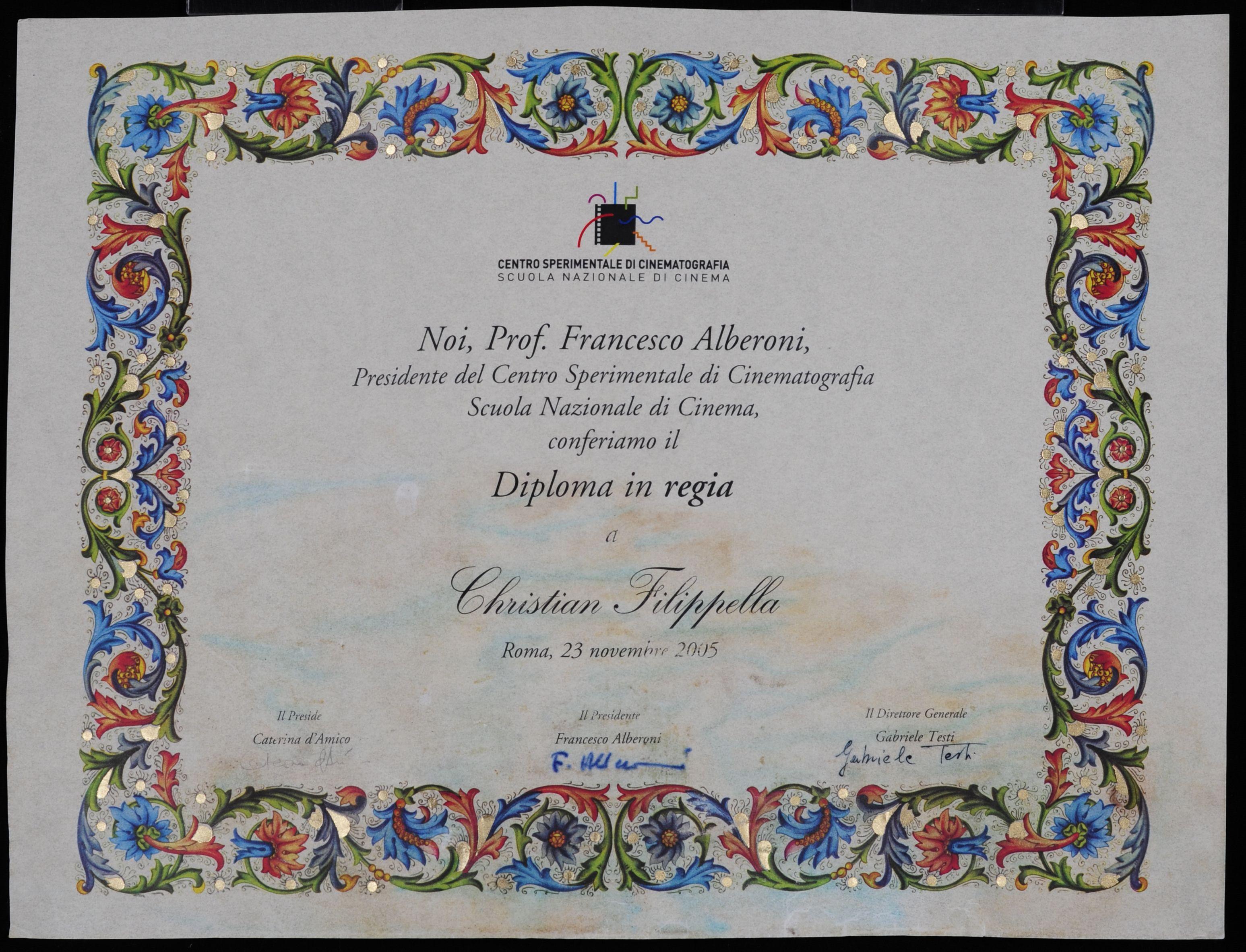 Before Conservation Diploma From Centro Sperimentale Di Cinematografia Scuola Nazionale Di Cinema Diploma In Regia A Christan Art Certificate Fine Art Rome