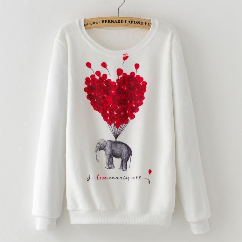Novelty balloon print hoodies sweatshirt Women 2017 winter fashion Flannel Warm Harajukuwwetoro-wwetoro