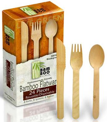 Bamboo Dinnerware Flatware Forks Spoons u0026 Knives Reusable Disposable - 24 Piece(s) at  sc 1 st  Pinterest & Bamboo Studio - Bamboo Dinnerware Flatware Forks Spoons u0026 Knives ...