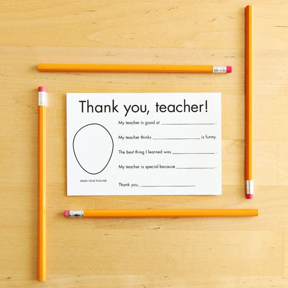Thank You Card For Teacher  Gift For Teacher Card Teacher