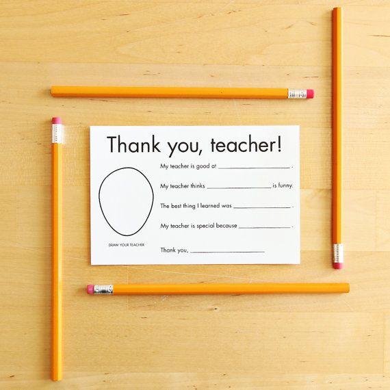 Thank You Card for Teacher printable - teacher appreciation gift - thank you notes for teachers
