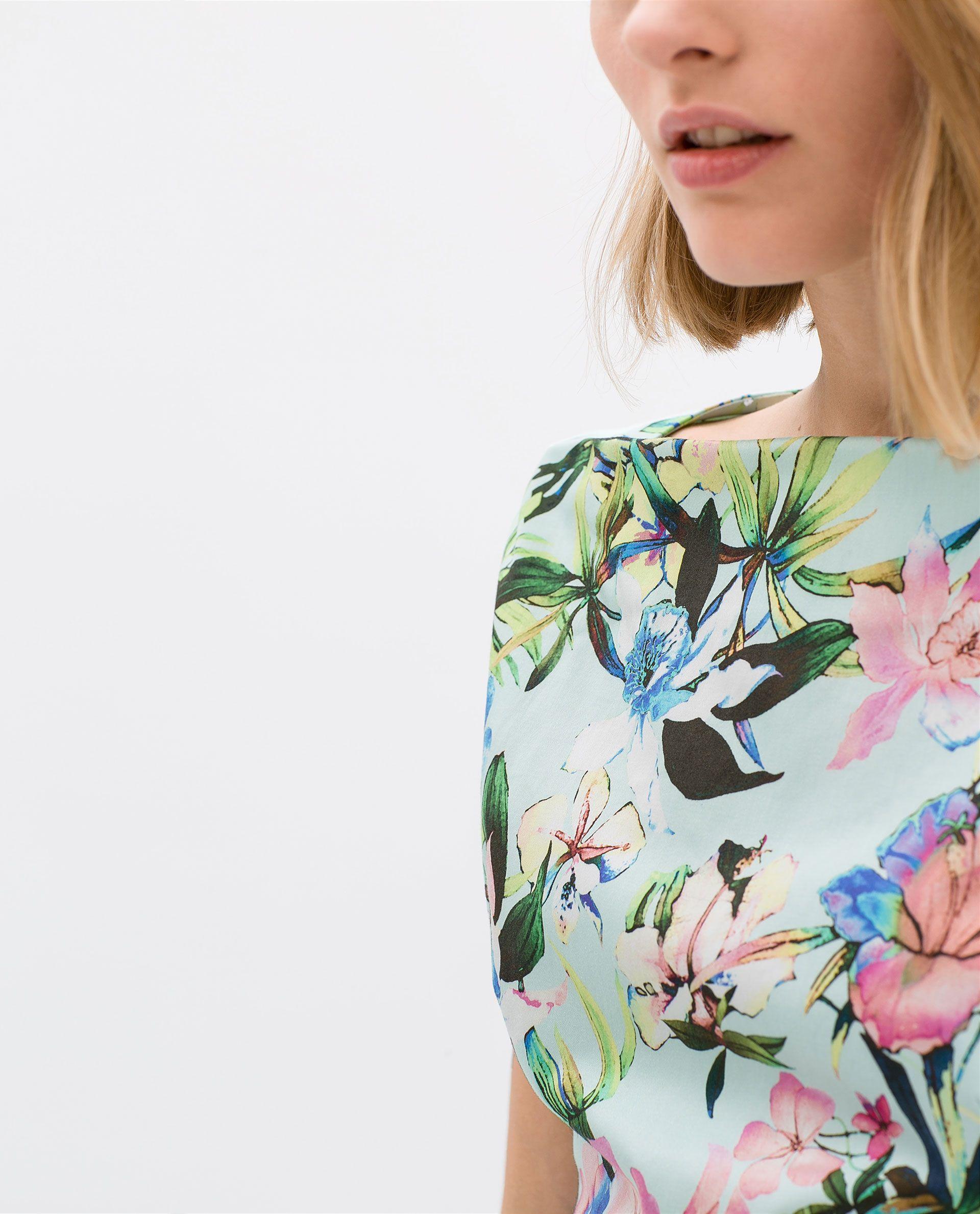 42208af5 ZARA - WOMAN - BOAT NECK PRINTED DRESS | Floral Prints | Pinterest