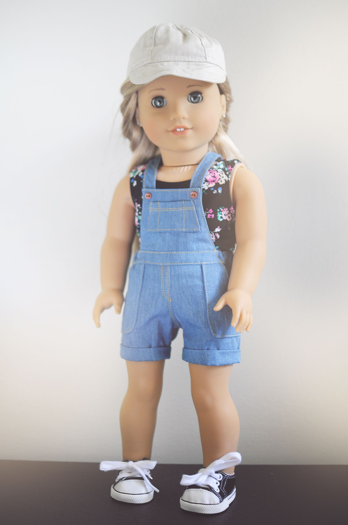 Hat by Piper and Phoebe Tank by QTΠ Doll Clothing Overalls by ...