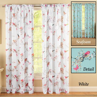 Spring Birds Butterflies Flowers Curtain Panel From Collections