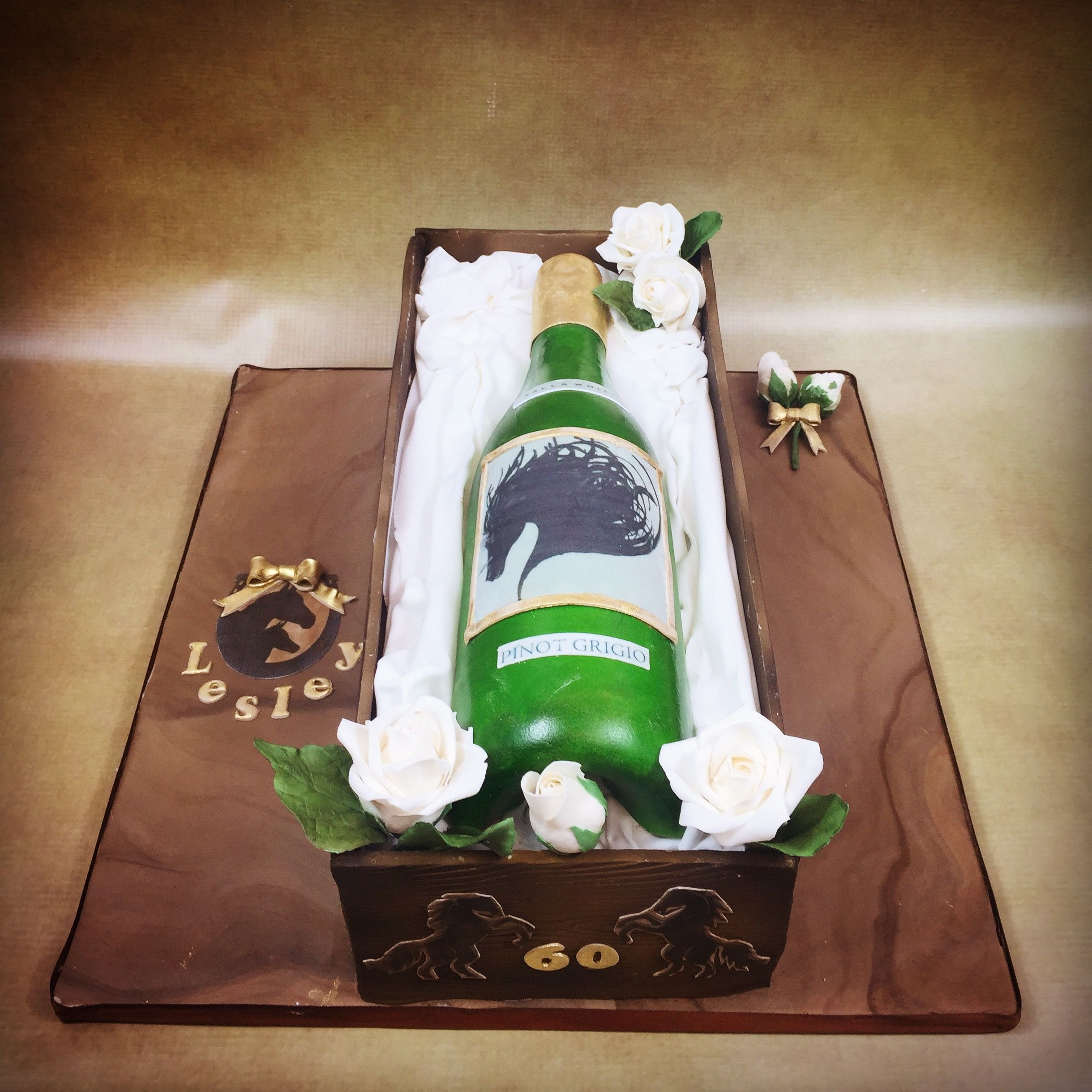 White Wine Bottle 60th Birthday Cake With Horse Theme For A Lover By Olivias Boutique