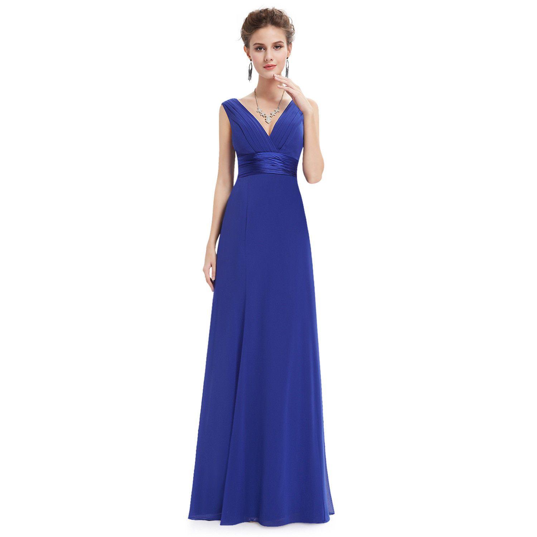 Cool everpretty women long v neck empire line evening dress